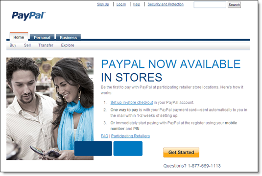 PayPal Anywhere landing page