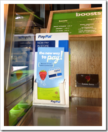 PayPal Anywhere brochure at LA Jamba Juice