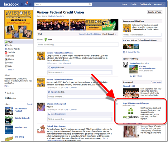 Perkstreet Financial targets USAA customers with Facebook ad (12 July 2011)