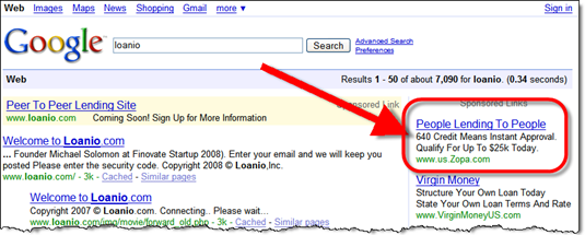 """Google results from """"loanio"""" search 4 Sep 2008"""