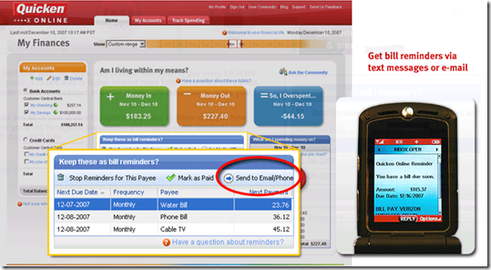 Text messaging in Quicken Online