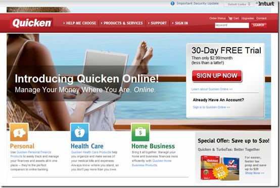 Quicken Online hompage 9 Jan 2008