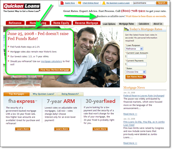 Quicken Loans home page with Fed rate news 25 June 2005
