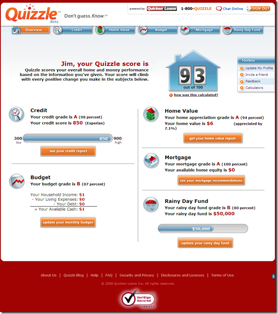 Quicken Loans Quizzle main results page