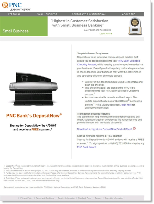 "PNC Bank landing page from Google search on ""remote deposit capture"""