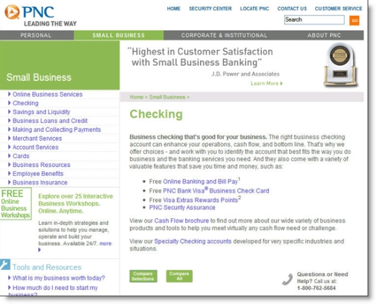 PNC Bank main business checking page (19 March 2007)