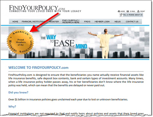 FindYourPolicy.com homepage