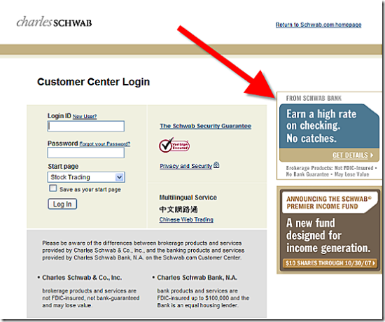 Schwab login page with checking promotion