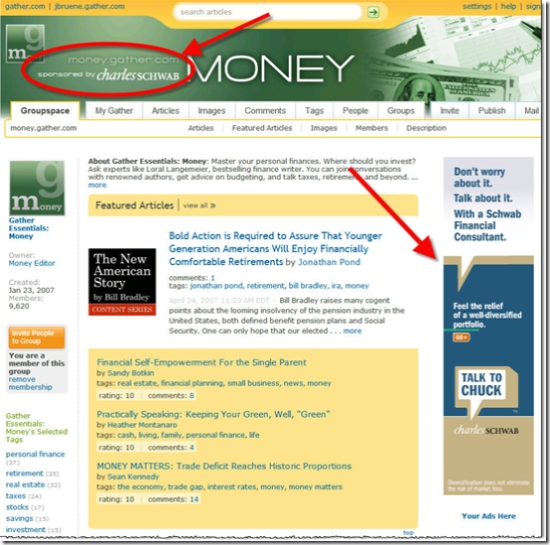Schwab has two large banners on Gather.com's money page