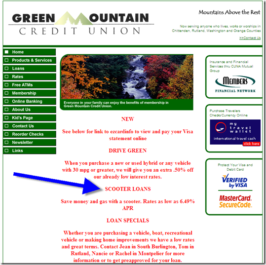 Scooter loans from Green Mountain CU homepage
