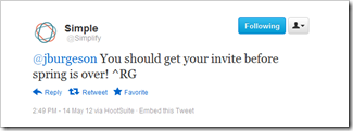 Bank Simple tells a twitter follower when to expect a beta invite