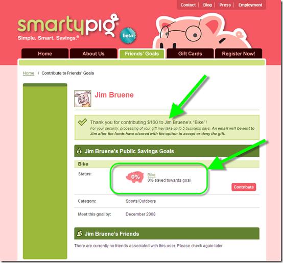 SmartyPig contribution thank you screenshot
