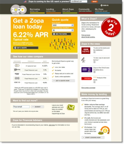 Zopa's homepage on its second birthday (7 March 2007)