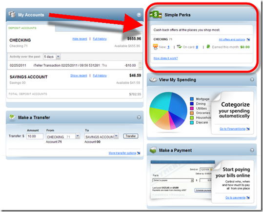 Simple Perks rewards module is highly visible within Intuit Personal FinanceWorks online banking