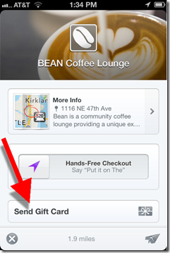 Square mobile app with Gift Card option