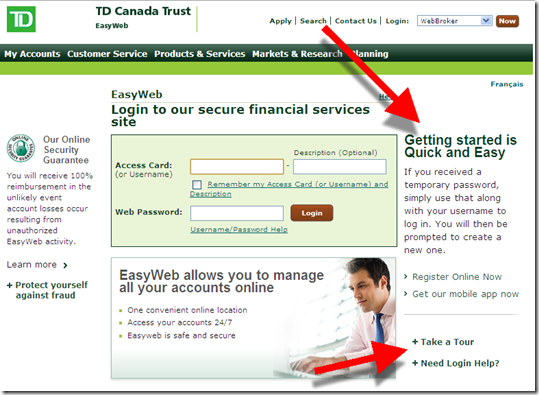 TD Bank login page: new user