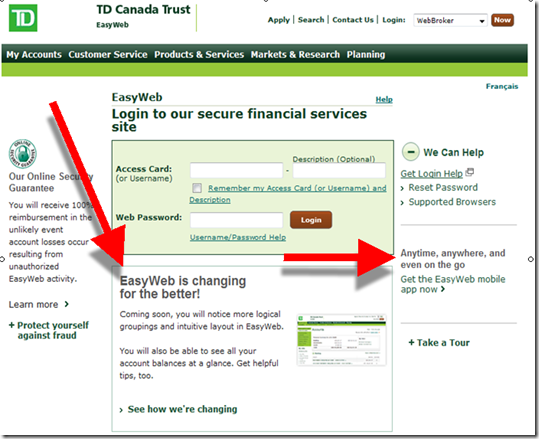 TD Canada Trust login page: Existing user