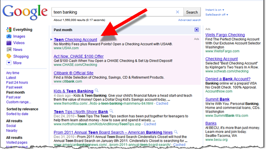 "Google search for ""teen banking"""
