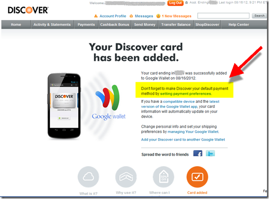 Confirmation screen that Discover has been added to Google Wallet