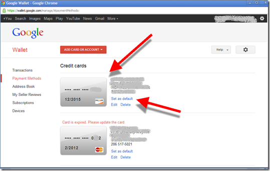 Google wallet containing Discover Card