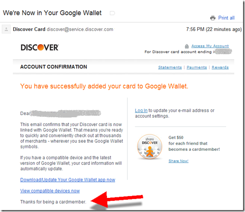 Email from Discover Card confirming addition to Google Wallet
