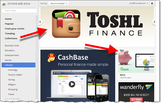 PFM Toshl featured in the Google Chrome Web Store
