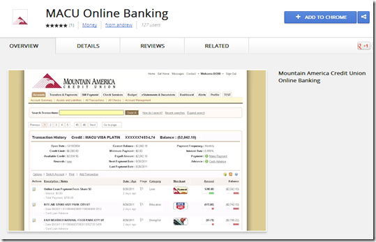 Mountain American Credit Union extension for Google Chrome browser