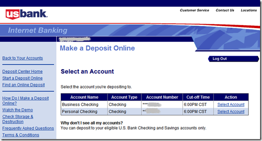 Step 1: Choose account to deposit to at US Bank