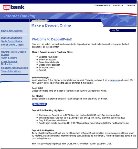 Main deposit page US Bank