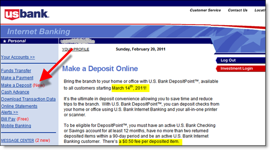 U.S. Bank's Make a Deposit page inside the secure online banking area (20 Feb 2011)