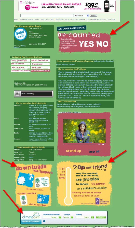 The Cooperative Bank's MySpace page