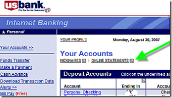 US Bank's online statement signup