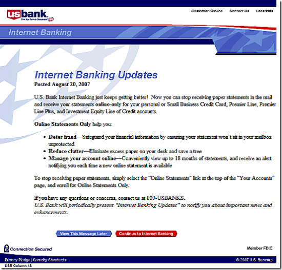 US Bank online banking splash screen
