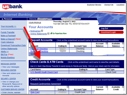 US Bank online banking features a debit card section