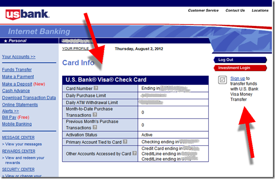 US Bank debit card info box