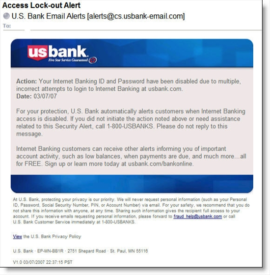 US Bank lock-out email message