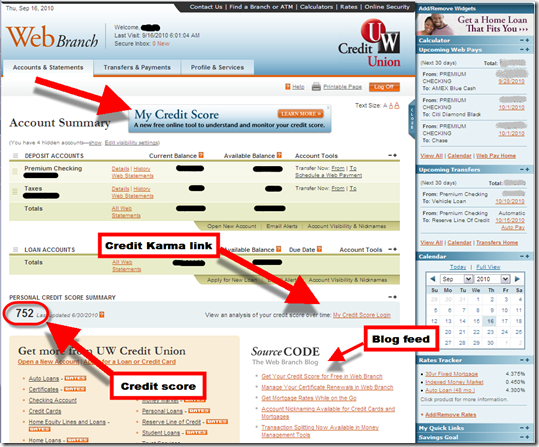 UW Credit Union online banking homepage homepage showing credit score and Credit Karma linkage (16 Sep 2010)