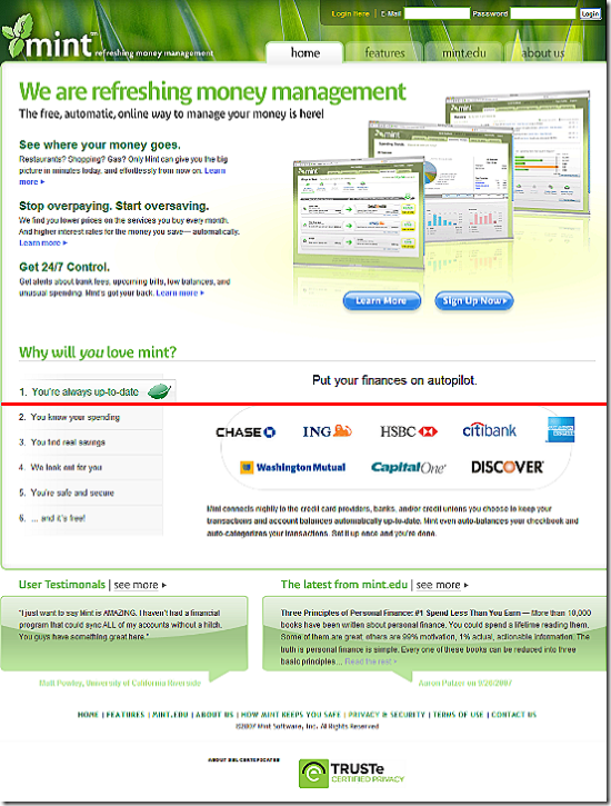 Mint.com homepage