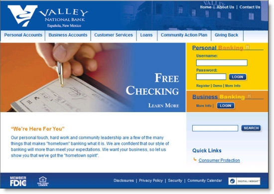 Valley National Bank of New Mexico homepage