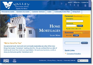 Valley National Bank homepage AFTER redesign
