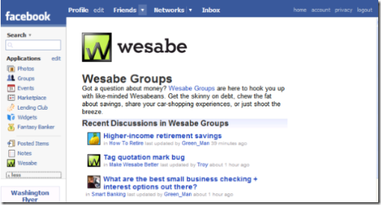 Wesabe's application on the Facebook platform