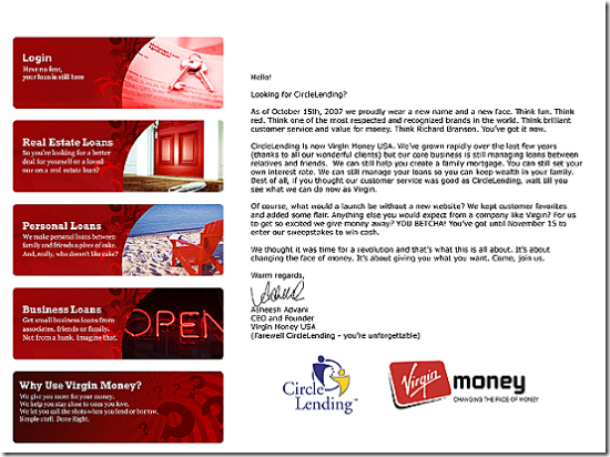 Circle Lending referral page to Virgin Money USA