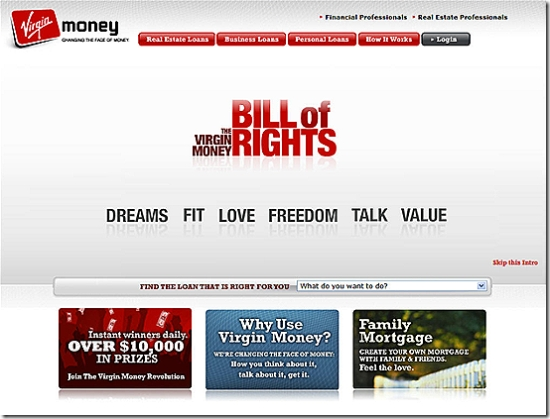 Virgin Money US homepage