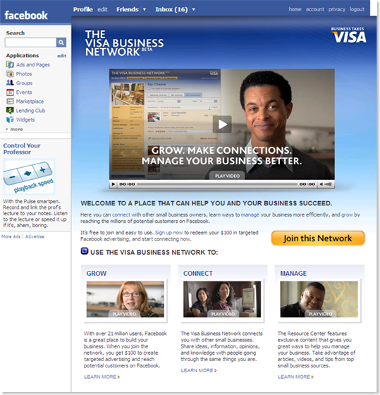 Visa Business Network on Facebook page 24 June 2008
