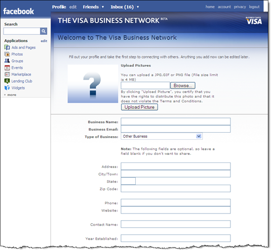 Visa Business Network app signup 24 June 2008