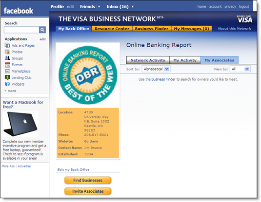 Online Banking Report page on Visa Business Network 24 June 2008