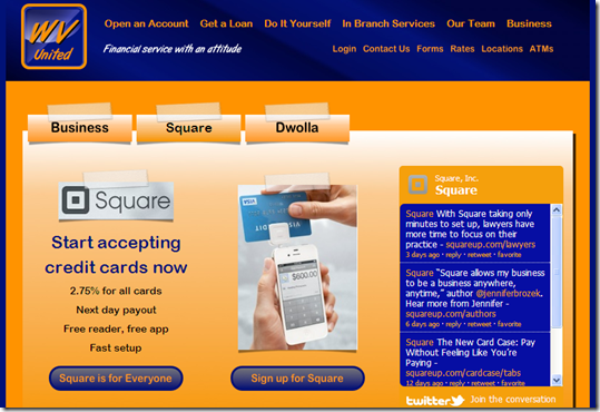 WV United FCU landing page for Square promo