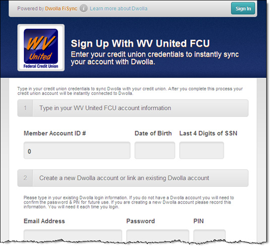 WV United CU and Dwolla online account signup