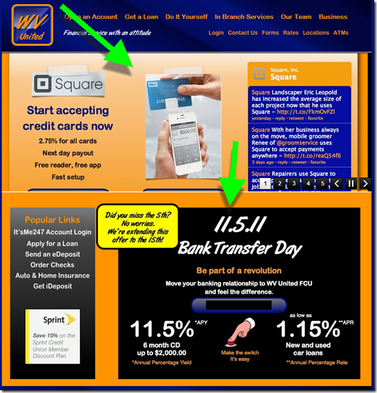 WV United FCU homepage includes Square promotion