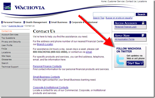 Wachovia Contact us page with Twitter badge 17 Sep 2008